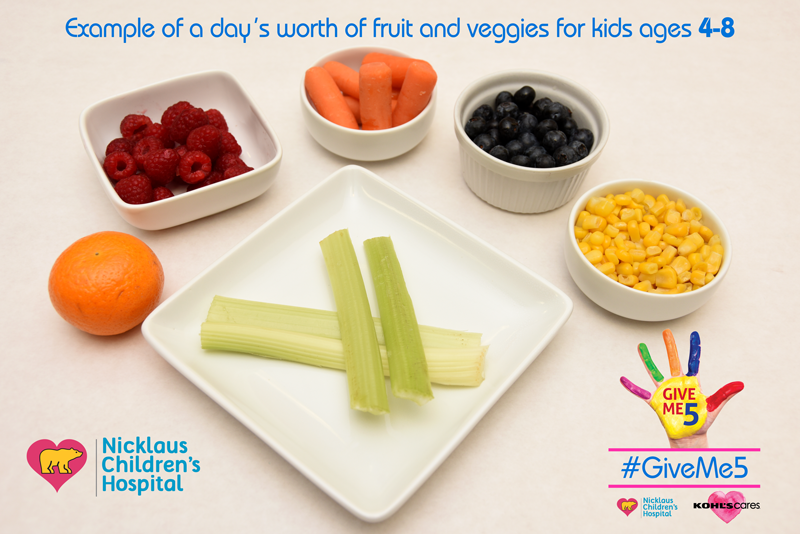 How many servings of fruit a day for a child