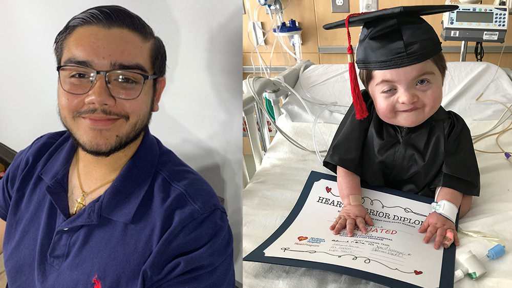 to the left smiling teenager Mark, to the right baby Tad graduating from cardiac intensive care