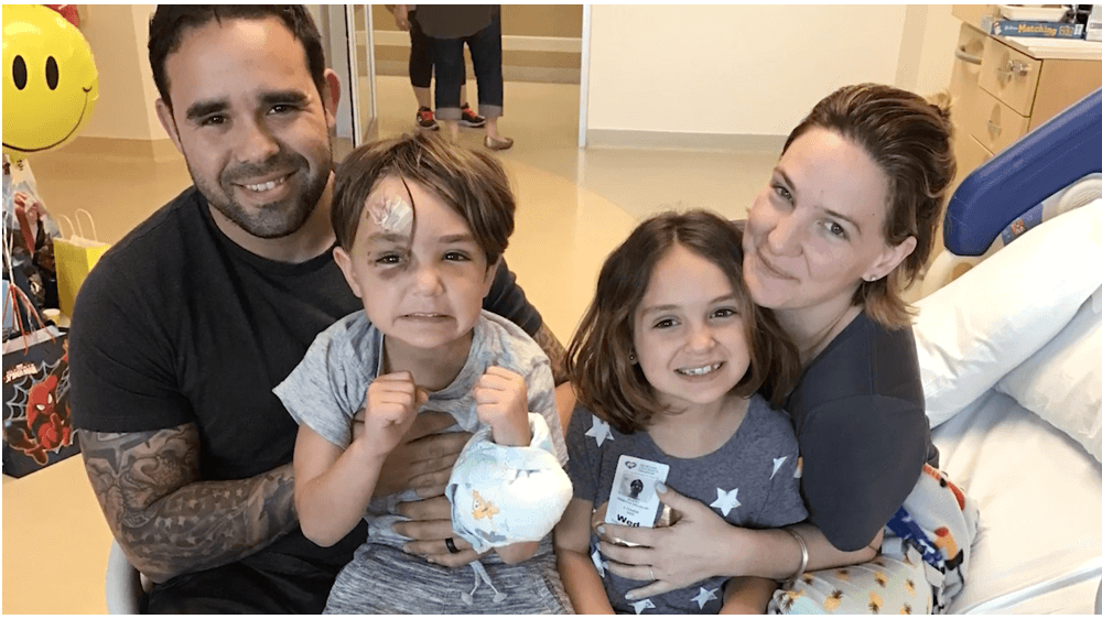frankie and his family after his brain injury surgery