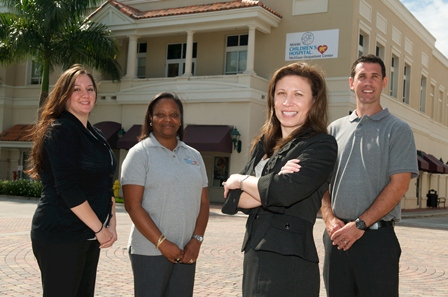 Left to right: Arlene Castro, Operations Manager; Karen Sinclair, Nurse Manager; Simone Sellier, Regional Director of Outpatient Services for Palm Beach and Weston; Jeremy Privee, Rehabilitation Services Manager