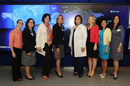 From L to R: Amanda Bolanos, Patient Navigator; Evelyn Abrahante Terrell, Director of Rehab Services and Interim Director of Telehealth; Roumiana Katzarkov, Medical Library Director; Nancy Humbert, Senior Vice President of Ambulatory Services; Dr. Deise Granado-Villar; Senior Vice President and Chief Medical Officer; Briana Rader, Global Health Manager; Lucienne Wallner, Operations Manager for MCH Midtown Outpatient Center; Luly Mendez, Patient Navigator
