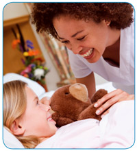 PACT can assist families of children with acute or complex chronic health issues- Image of nurse with girl holding teddy bear