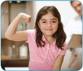 Specialty CareMiami Children's Hospital offers a wide range of specialized services for children with specific medical conditions - Image of girl flexing arm