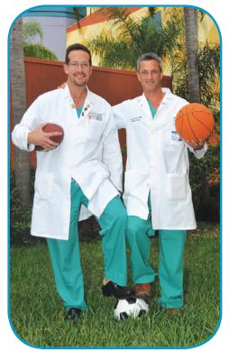 Miami Children's Hospital Sports Medicine Program, dedicated to supporting treatment and prevention of sports injuries in the growing athlete, or young sports enthusiast.- Image of Stephen Swirsky, DO and Craig J. Spurdle, MD.