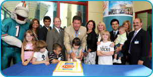 MCH Dan Marino Center 10th Anniversary- Image of Dan Marino celebrating with children.