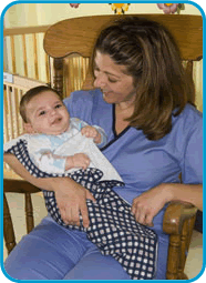 The Early Steps program at Nicklaus Children's Hospital, formerly Miami Children's Hospital (called Early Steps Southernmost Coast) assures that early intervention services and supporting resources are available for young children with special needs from birth to age three-nurse carrying baby