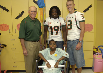 University of Miami Football Players Drop by Miami Children's Hospital for Surprise Visit
